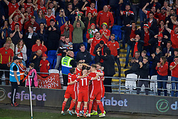 CARDIFF, WALES - Friday, September 6, 2019: Wales supporters celebrate the winning second goal scored by captain Gareth Bale during the UEFA Euro 2020 Qualifying Group E match between Wales and Azerbaijan at the Cardiff City Stadium. (Pic by Paul Greenwood/Propaganda)