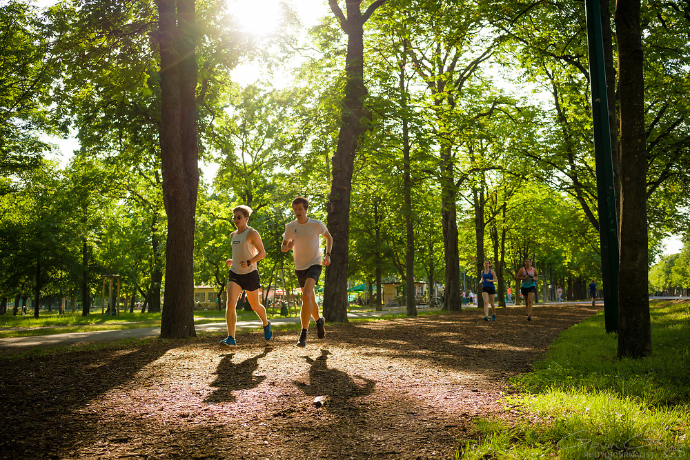 Two young men jogging in the park in the summer, Prater Park, Vienna, Austria