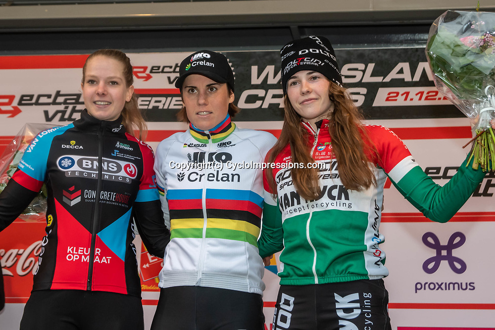 21-12-2019: Cycling : Waaslandcross Sint Niklaas: Sanne Cant(BEL) wins the Waaslandcross after a close battle with Anniek van Alphen (NED) and 19 year old Kata Blanka Vas(HUN)