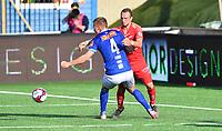 Fotball Menn Eliteserien Ranheim-Brann<br /> Extra Arena, Ranheim<br /> 4 august 2019<br /> <br /> <br /> Situasjonen mellom Ranheims Ivar Furu (4) og Branns Veton Bersiha som førte til at Brann fikk straffespark<br /> <br /> <br /> Foto : Arve Johnsen, Digitalsport