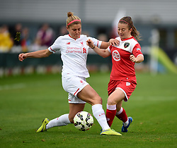Christie Murray of Bristol Academy Women is tackled by Rosie White of Liverpool Ladies - Mandatory by-line: Paul Knight/JMP - Mobile: 07966 386802 - 04/10/2015 -  FOOTBALL - Stoke Gifford Stadium - Bristol, England -  Bristol Academy Women v Liverpool Ladies FC - FA Women's Super League