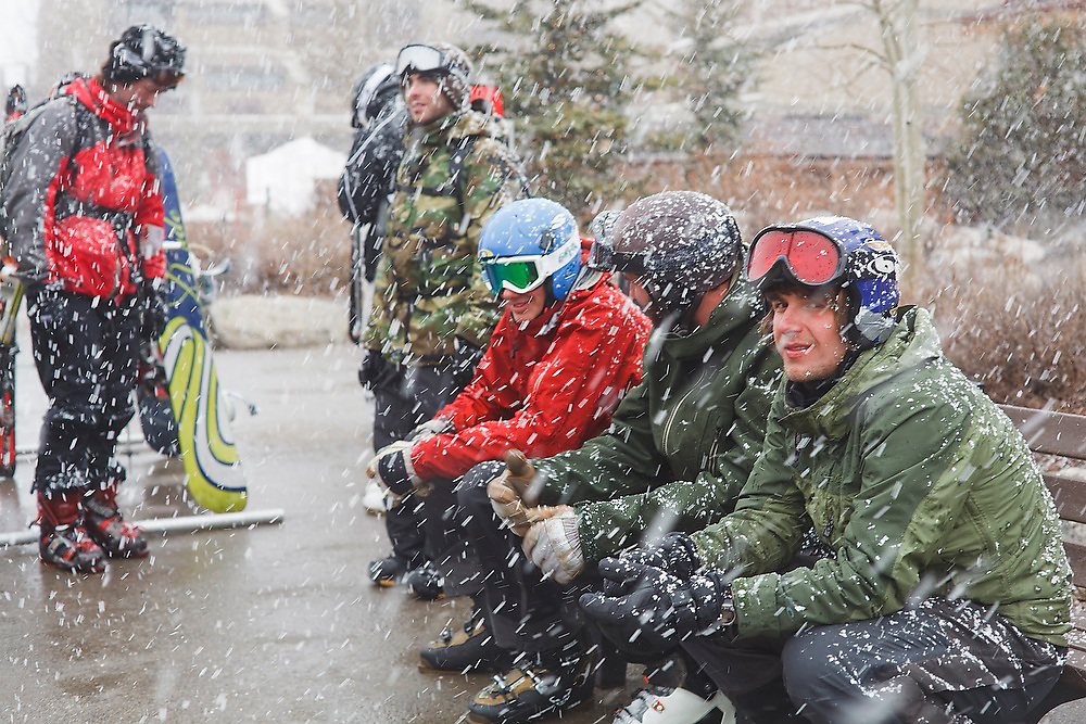 Young men wait for the bus during a blizzard at the Copper Mountain ski resort in Colorado.