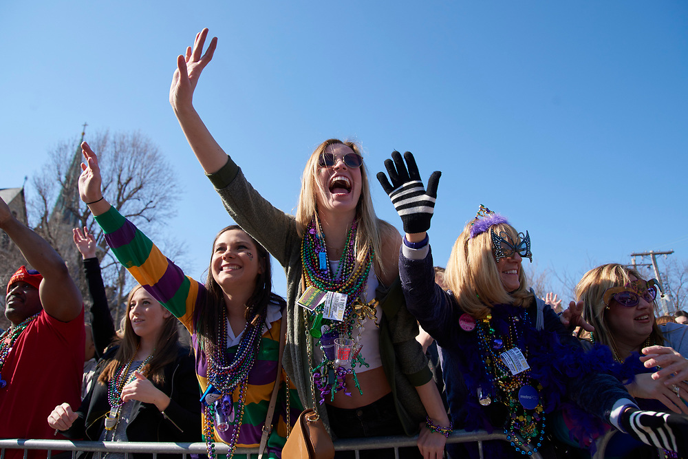 Mardi Gras parade in St. Louis on February 6, 2016.
