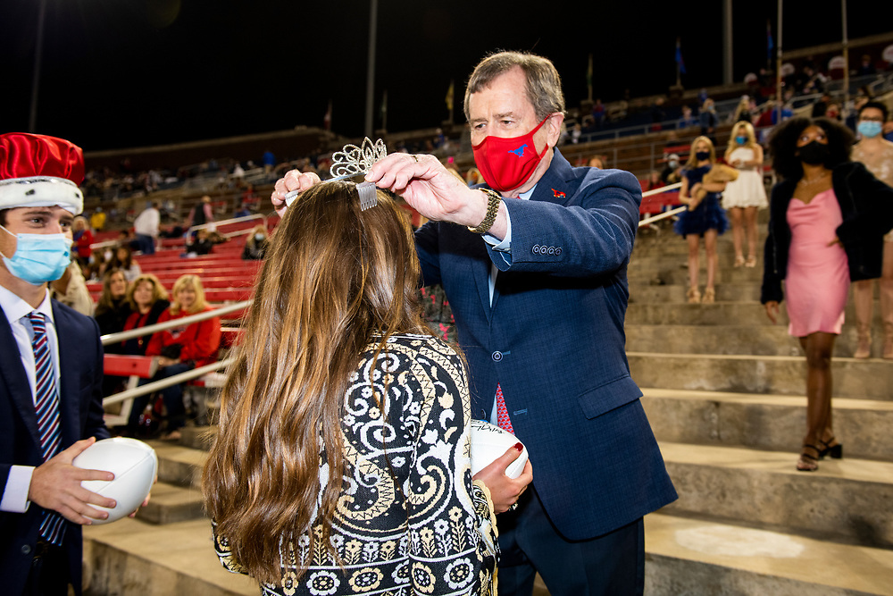 Students, alumni and fans participate in the 2020 SMU Homecoming at the Saturday football gave vs Cincinnati, October 24, 2020 at <br /> Gerald J. Ford Stadium on the SMU Campus.