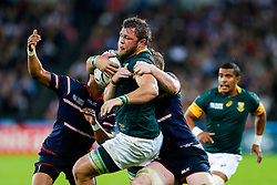 South Africa Number 8 Duane Vermeulen is tackled - Mandatory byline: Rogan Thomson/JMP - 07966 386802 - 07/10/2015 - RUGBY UNION - The Stadium, Queen Elizabeth Olympic Park - London, England - South Africa v USA - Rugby World Cup 2015 Pool B.
