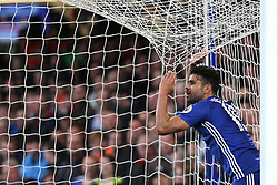 8 May 2017 - Premier League Football - Chelsea v Middlesbrough<br /> Diego Costa of Chelsea pulls on the goal net after a missed chance<br /> Photo: Charlotte Wilson