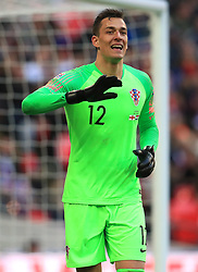 Croatia goalkeeper Lovre Kalinic during the UEFA Nations League, Group A4 match at Wembley Stadium, London. PRESS ASSOCIATION Photo. Picture date: Sunday November 18, 2018. See PA story SOCCER England. Photo credit should read: Mike Egerton/PA Wire. RESTRICTIONS: Use subject to FA restrictions. Editorial use only. Commercial use only with prior written consent of the FA. No editing except cropping.