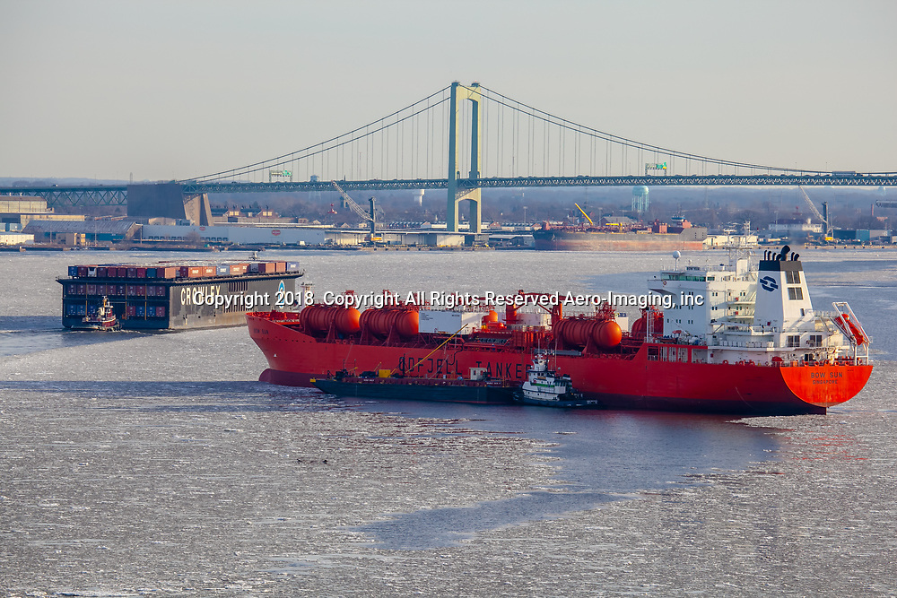 Aerial view of The Bow Sun Vessel, Odfjell  tanker in the Icy waters of the Delaware River,