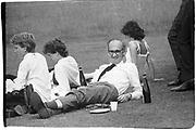 Defence Secretary John Nott and family ( & security)  having a picnic. June 4 Eton. 1982.  ( ( 'Pass the Port, Stanley' ) © Copyright Photograph by Dafydd Jones 66 Stockwell Park Rd. London SW9 0DA Tel 020 7733 0108 www.dafjones.com