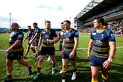 Worcester Warriors celebrates beating Gloucester Rugby and securing Premiership Rugby status - Mandatory by-line: Robbie Stephenson/JMP - 28/04/2019 - RUGBY - Sixways Stadium - Worcester, England - Worcester Warriors v Gloucester Rugby - Gallagher Premiership Rugby