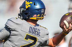 Sep 11, 2021; Morgantown, West Virginia, USA; West Virginia Mountaineers quarterback Jarret Doege (2) warms up prior to their game against the Long Island Sharks at Mountaineer Field at Milan Puskar Stadium. Mandatory Credit: Ben Queen-USA TODAY Sports