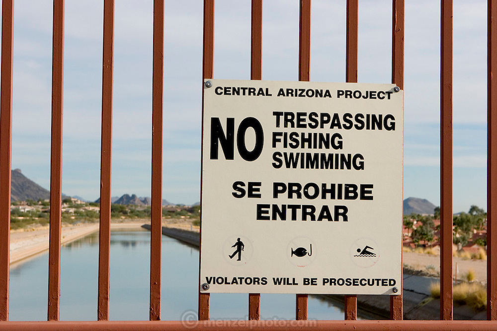 Central Arizona Project Aqueduct near Taliesin West, Scottsdale, AZ. The CAP aqueduct, at 336 miles, is the longest in the USA. It brings water from the Colorado River to Central and Southern Arizona..