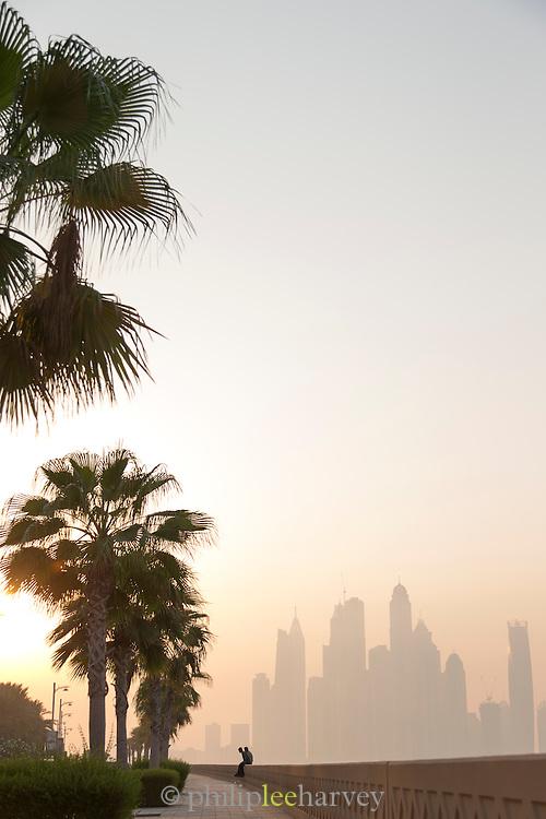 Dubai Marina, seen from The Palm at dawn, United Arab Emirates