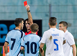 Referee with red card for Amedej Vetrih of Gorica during 2nd Leg football match between ND Gorica and Molde FK (NOR) in Second Qualifying Round of UEFA Europa League 2014/15, on July 24, 2014 in Sportni park Nova Gorica, Slovenia. Photo by Vid Ponikvar / Sportida.com