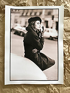 Susan Holmes McKagan photographed in Paris circa 1990 for DH campaign. 16 x 12 inches fibre based baryta paper. Copper toning process used. Original print production proof.