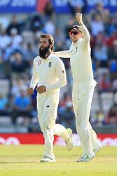 England's Moeen Ali celebrates taking the wicket of Mohammed Shami of India during day four of the fourth test at the AGEAS Bowl, Southampton.