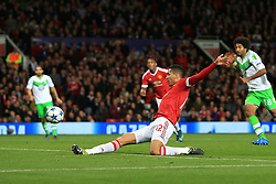 30-9-2015 ENG: UEFA Champions League Manchester United - VfL Wolfsburg, Manchester<br /> Chris Smalling of Man Utd scores their 2nd goal<br />  Photo: Simon Stacpoole / Offside.<br /> <br /> ***** NETHERLANDS ONLY ******