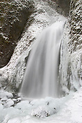 Frozen Wahkeena Falls in the Columbia River Gorge National Scenic Area, Oregon.