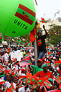 Supporters of the National Union for the Total Independence of Angola (UNITA), during a demonstration/rally, held at the Independence Square in Luanda at 25 August.