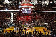 Raising of NBA Championship banner before the Miami Heat vs the Boston Celtics at the AmericanAirlines Arena in Miami, Florida, October 30, 2012.