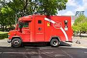 A Post Office Security Van is seen parked in a street in east London, England on April 26, 2019.
