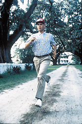 FILM TITLE:  FORREST GUMP.  DIRECTOR:  Robert Zemeckis.  STUDIO:  Paramount Pictures.  PLOT:  A slow-witted man, Forrest Gump (Tom Hanks), tells his life story to strangers while waiting for a bus.  He tells of  meeting Elvis Presley, and the death of his mother (Sally Field). He recounts going to college on a football scholarship. He speaks of Vietnam and coming home a hero. He recalls meeting several presidents.  Despite his sub-normal IQ, Gump leads a truly charmed life, with a ringside seat for many of the most memorable events of the second half of the 20th century.  Meanwhile, as the remarkable parade of his life goes by, he never forgets his one true love,  Jenny (Robin Wright Penn) whom he finds and loses time and time again.   Winner of 6 Academy Awards including:  Best Picture, Best Director, Best Actor (Hanks).  PICTURED:  TOM HANKS.    (Credit Image: © Entertainment Pictures/Entertainment Pictures/ZUMAPRESS.com)