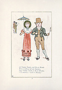 As Tommy Snooks, and Bessie Brooks Were walking out one Sunday , Says Tommy Snooks to Bessie Brooks, Tomorrow will be Monday. from the book Mother Goose : or, The old nursery rhymes by Kate Greenaway, Engraved and Printed by Edmund Evans published in 1881 by George Routledge and Sons London nad New York