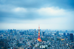Evening view of skyline of Tokyo with Television Tower in Japan
