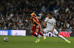 November 6, 2019, Madrid, Spain: Galatasaray's Florin Andone and Real Madrid CF's Carlos H. Casemiro competes for the ball during the UEFA Champions League match between  Real Madrid and Galatasaray SK at the Santiago Bernabeu in Madrid. (Credit Image: © Manu Reino/SOPA Images via ZUMA Wire)
