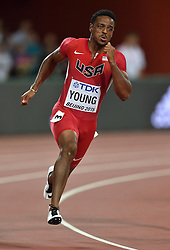 25-08-2015 CHN: IAAF World Championships Athletics day 4, Beijing<br /> Isiah Young USA - 200 m<br /> Photo by Ronald Hoogendoorn / Sportida