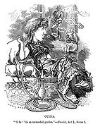 "Punch's Fancy Portraits. No 45. Ouida. ""O fie! 'tis an unweeded garden."" - Hamlet, Act I., Scene 2."