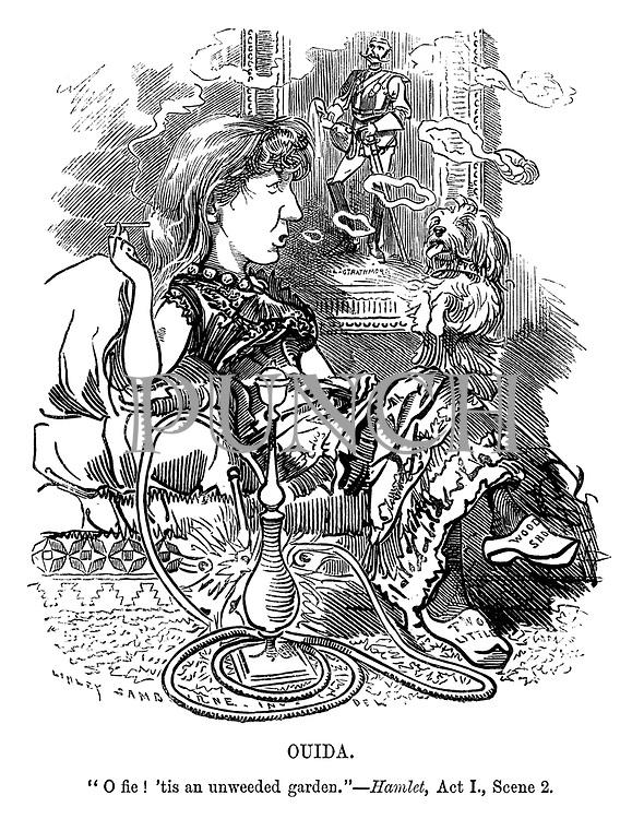 "Punch's Fancy Portraits. No 45. Ouida. ""O fie! 'tis an unweeded garden."" - Hamlet, Act I., Scene 2."