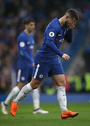 Chelsea's Eden Hazard (centre) during the Premier League match at Stamford Bridge, London.