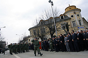 """MANIFESTATION """"KLA EPOPEE"""" KICKS OFF<br /> <br /> Pristina, Kosovo<br /> Wednesday, March 5, 2008<br /> <br /> On the tenth anniversary of the fall of the Kosovo Liberation Army Legendary Commander, Adem Jashari and all nation's martyrs, on Wednesday kicked off the traditional manifestation on the Center of Kosovo Capitol Pristina, on front of Kosovo government building respectively on """"Georgiou's Castrioti Scanderbeg"""" square.<br /> In a spectacular show, Kosovo Protection Corps (KPC) organize a big military parade, in front of more than 5 hundred Kosovo Albanian citizens, which parade where followed also at the presence of Kosovo Prime Minister Mr.Hashim THAÇI, Kosovo President Dr.Fatmir SEJDIU, President of Kosovo Assembly-room Mr.Jakup KRASNIQI and other political and cultural representatives.<br /> PICTURED:<br /> Kosovo Protection Corps (KPC), Military Parade<br /> <br /> VEDAT xhymshiti/ZUMApress<br /> PhotoJOURNALIST"""