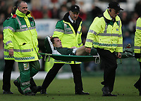 Photo: Lee Earle.<br /> Plymouth Argyle v Hull City. Coca Cola Championship. 09/12/2006. Plymouth's Paul Wotton is stretchered off after injury.