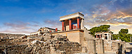 Panorama of Minoan of the North Entrance Propylaeum with its painted charging  bull releif,  Knossos Palace archaeological site, Crete. At sunset. ..<br /> <br /> Visit our GREEK HISTORIC PLACES PHOTO COLLECTIONS for more photos to download or buy as wall art prints https://funkystock.photoshelter.com/gallery-collection/Pictures-Images-of-Greece-Photos-of-Greek-Historic-Landmark-Sites/C0000w6e8OkknEb8 <br /> .<br /> Visit our MINOAN ART PHOTO COLLECTIONS for more photos to download  as wall art prints https://funkystock.photoshelter.com/gallery-collection/Ancient-Minoans-Art-Artefacts-Antiquities-Historic-Places-Pictures-Images-of/C0000ricT2SU_M9w
