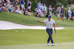 May 5, 2019 - Charlotte, North Carolina, United States of America - Paul Casey waves to fans after making his putt on the fifteenth hole during the final round of the 2019 Wells Fargo Championship at Quail Hollow Club on May 05, 2019 in Charlotte, North Carolina. (Credit Image: © Spencer Lee/ZUMA Wire)