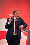 London, UK. Wednesday 29th April 2015. Labour Party Shadow Chancellor Ed Balls speaks at a General Election 2015 campaign event on the Tory threat to family finances, entitled: The Tories' Secret Plan. Held at the Royal Institute of British Architects.