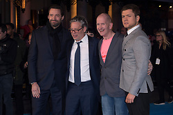 """Hugh Jackman, Dexter Fletcher, Eddie """"The Eagle"""" Edwards and Taron Egerton attends the European premiere for """"Eddie the Eagle at Odeon Leicester Square in London, 17.03.2016. EXPA Pictures © 2016, PhotoCredit: EXPA/ Photoshot/ Euan Cherry<br /> <br /> *****ATTENTION - for AUT, SLO, CRO, SRB, BIH, MAZ, SUI only*****"""