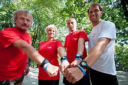 Prof. dr. Rajko Kenda, singer Katja Koren, Ales Sabeder and Urban Praprotnik at Mercator izziv, on August 19, 2011, on Ljubljanski grad, Ljubljana, Slovenia (Photo by Matic Klansek Velej / Sportida)