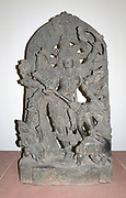 Durga as Mahisasuramardini (circa 1240-60) Hoysala period.  The goddess Durga represents the shakti or female energy of the god Shiva.  Her eight arms would wield sacred weapons against the forces of evil. Here she is shown in her ferocious form as the sl