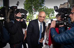 © Licensed to London News Pictures. 15/06/2019. London, UK. Conservative Party leadership candidate, Home Secretary Sajid Javid is surrounded by reporters as he arrives at a hustings event in central London. The remaining candidates in the leadership race will face a second round of votes in Parliament on Tuesday next week. Photo credit: Peter Macdiarmid/LNP