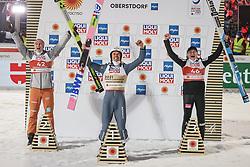 27.02.2021, Oberstdorf, GER, FIS Weltmeisterschaften Ski Nordisch, Oberstdorf 2021, Herren, Skisprung, HS106, Einzelbewerb, Siegerpräsentation, im Bild Karl Geiger (GER), Piotr Zyla (POL), Anze Lanisek (SLO) // Karl Geiger (GER), Piotr Zyla (POL), Anze Lanisek (SLO) during the winner presentation for the men ski Jumping HS106 Single Competition of FIS Nordic Ski World Championships 2021. in Oberstdorf, Germany on 2021/02/27. EXPA Pictures © 2021, PhotoCredit: EXPA/ Tadeusz Mieczynski