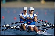 Sydney, AUSTRALIA, ITA LM2X, Bow, Elia LUINI and Leonardo PETTINARI. 2000 Olympic Regatta, West Lakes Penrith. NSW.  [Mandatory Credit. Peter Spurrier/Intersport Images] Sydney International Regatta Centre (SIRC) 2000 Olympic Rowing Regatta00085138.tif