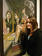 Lola Mueck in front of the painting she modelled for , ( girl looking in mirror) Paula Rego exhibition opening, Tate Britain, 27 October 2004.  ONE TIME USE ONLY - DO NOT ARCHIVE  © Copyright Photograph by Dafydd Jones 66 Stockwell Park Rd. London SW9 0DA Tel 020 7733 0108 www.dafjones.com