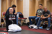 Houston, Texas - February 19, 2016: Royce Gracie watches the fights in his locker room before fighting against Ken Shamrock during Bellator 149 at the Toyota Center in Houston, Texas on February 19, 2016. (Cooper Neill for ESPN)