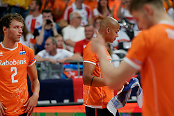 21-09-2019 NED: EC Volleyball 2019 Netherlands - Germany, Apeldoorn<br /> 1/8 final EC Volleyball / Wessel Keemink #2 of Netherlands, Nimir Abdelaziz #14 of Netherlands