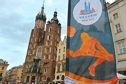 August 17, 2017 - Krakow, Poland - A view of flags advertising the 2017 Men's European Volleyball Championship and Krakow's Mariacki Basilica in the background. .Krakow's Tauron Arena will host Pool C matches, Play-off round matches, Quarterfinals and Final four matches. .On Thursday, August 17, 2017, in Krakow, Poland. (Credit Image: © Artur Widak/NurPhoto via ZUMA Press)