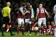 Angelo Ogbonna Obinze of West Ham United ©  celebrates scoring his sides 2nd goal during 2nd Extra time to make it 2-1 with teammates Andy Carroll of West Ham United, James Collins of West Ham United and Enner Valencia of West Ham United. The Emirates FA cup, 4th round replay match, West Ham Utd v Liverpool at the Boleyn Ground, Upton Park  in London on Tuesday 9th February 2016.<br /> pic by John Patrick Fletcher, Andrew Orchard sports photography.