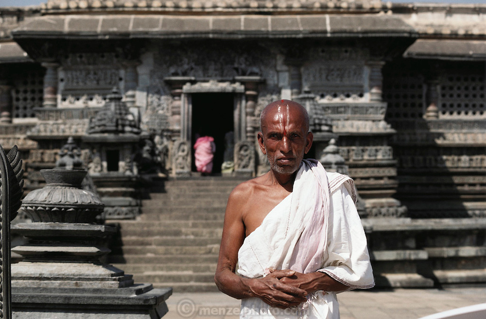 A local priest at a temple in Belur, South India.